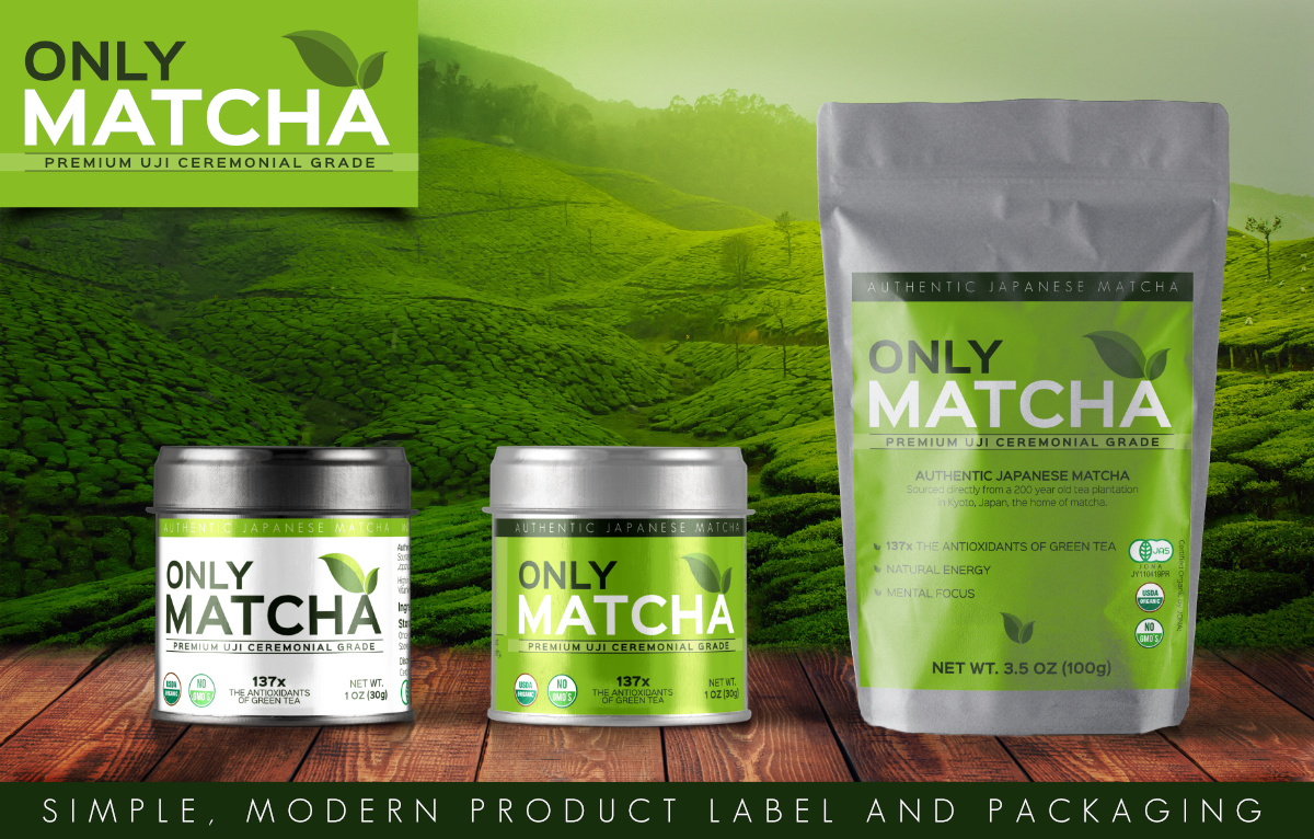 only matcha mockup label and package