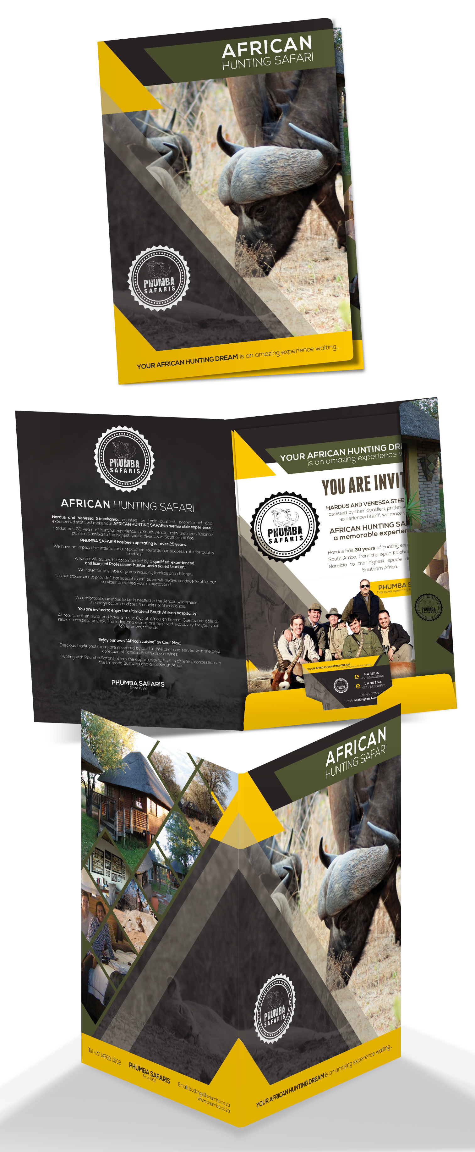 Stationary Phumba Safaris brochure flyer business card